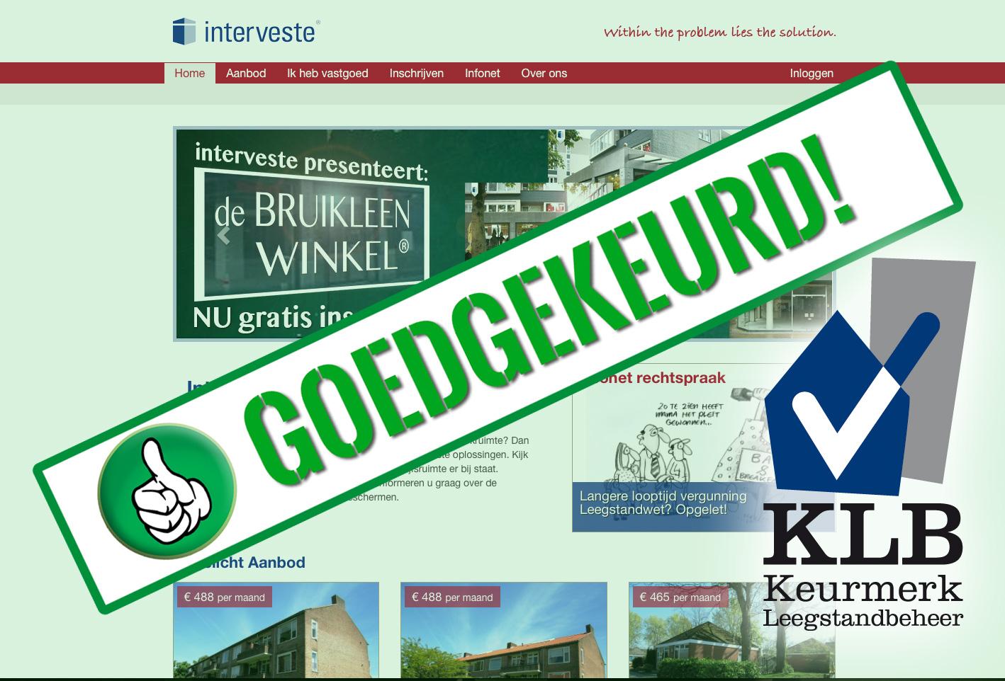 Interveste voldoet wederom aan Keurmerk Leegstandbeheer – KLB