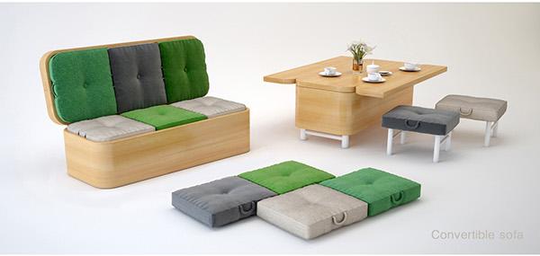 convertible sofa als bank of tafel met stoelen