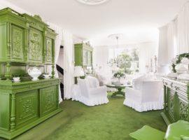 Groen met wit interieur