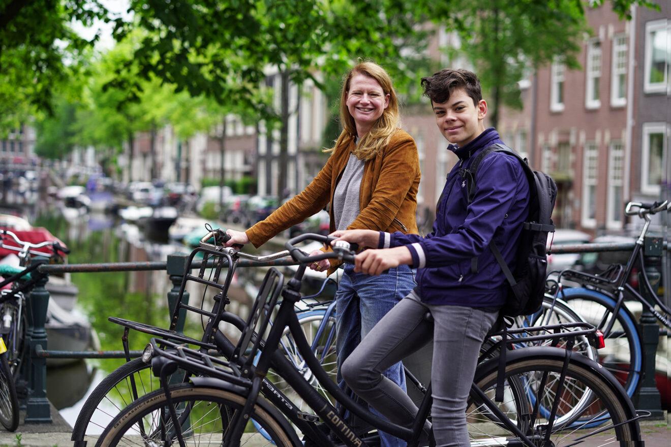 Stilstaande fietsers